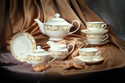 Чайный сервиз пряник чайник посуда чашка блюдце