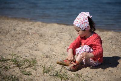 - пляж, ребенок, песок