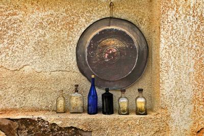Большая синяя бутыль Кобальт бутыль поднос стена