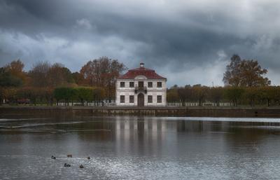 Перед ливнем Петергоф Нижний парк Марли осень тучи