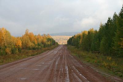 Дорога в осень.. осень дорога сибирь грязь лужи горы деревья желтые листья тучи хмурое небо