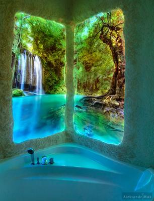 фото с подсветкой в ванную фотография с подсветкой водопад лагуна playglow whitemak александр мак ванная комната фото на стекле
