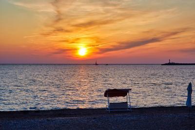Сочинский закат Россия Сочи Черное море набережная пляж осень вечер