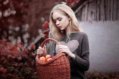 Осень осень нектарины краски девушка тепло уют
