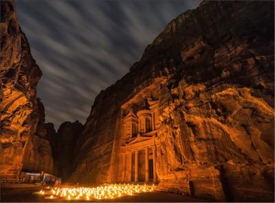 Night Petra Иордания Петра ночь свечи камни jordan petra wadi musa travel