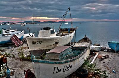 Вечер в Помории.  море вечер лодки закат