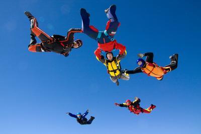 Вид снизу парашют, спорт, высота, люди, skydive