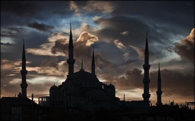 закат над голубой мечетью