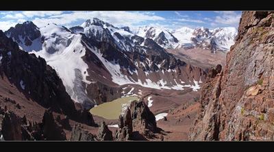 Угроза №6 и панорама МАУ.  Репост Тянь-Шань  горы  Алатау  небо  ледник  озеро  панорама