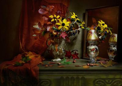 В октябрь вхожу и в позолоте листьев... still life натюрморт цветы рудбекия чёрная рябина фото стихи сентябрь осень кленовые листья