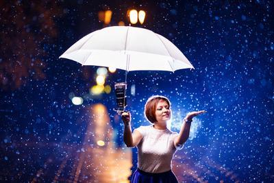 *** Дождь контровой свет портрет стробизм canon 6d 135mm