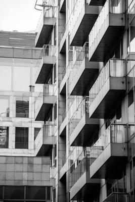 Балконы Дом балкон чёрнобелое