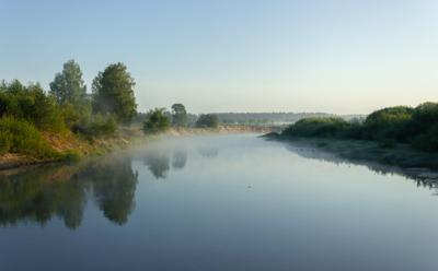 Новый день туман утро река рассвет