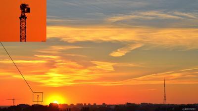 2.09.21 Очередной балконно-зокадный шедевръ омск вид с балкона закат кран облачность оранжевый