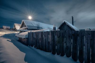 Новогодние ночи в деревне деревня январь мороз снег ночь дом забор баня свет екимята пермь
