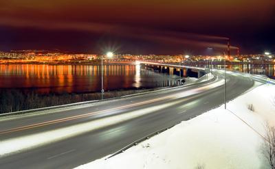Ночной Мурманск мурманск город мост ночь огни вода
