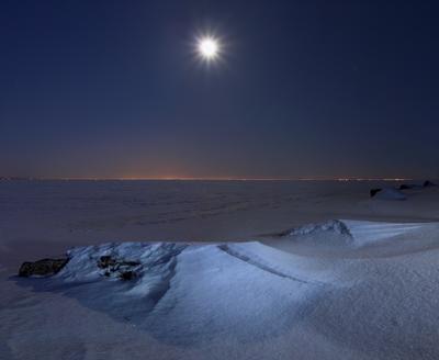 *** long exposure длинная выдержка зима луна ночь световая кисть Финский залив