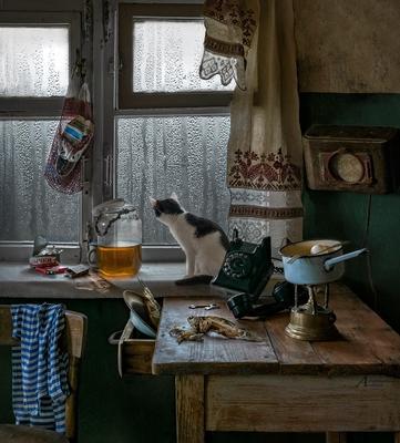 Серый дождик каплет, прямо на стекло . ретро натюрморт дождь