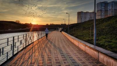 Прогулки на закате Ростов-на-Дону вечер закат пруд небо солнце