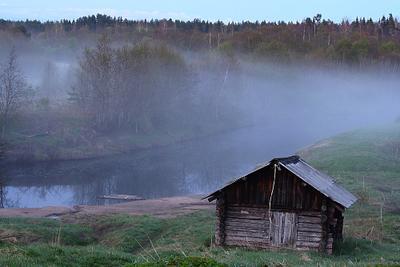 """Туман над рекой.серия """"Вологодская деревня"""" туман над рекой"""
