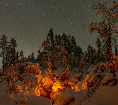 Лог Святого источника Архангельская область Пинега источник карст водопад русский север мороз зима