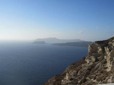 Вид на Кальдеру кальдера море острова