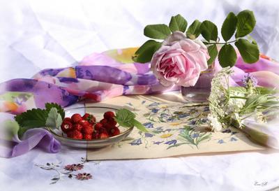 После прогулки роза земляника лето платок прогулка натюрморт