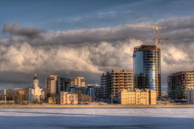 Питерские стройки Санкт-Петербург стройка восход закат