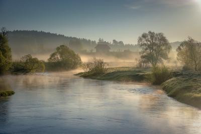 Долина Истры река истра утро деревья дома зелень поток рассвет вода пейзаж