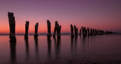 Застывшие во времени australia victoria geelong old pier sunset