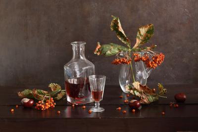 Melancholy натюрморт осень рябина каштаны лист стекло