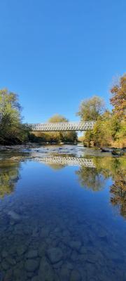 Мост через Пшиш Река мост деревья