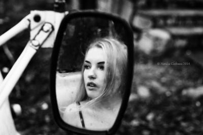 Wind portrait woman bw autumn