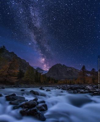 ~~~ Ночь. Актру. Млечный путь. ~~~ Алтай Актру звезды Млечный_Путь река vakomin
