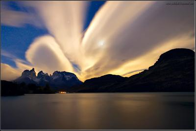 Ночные Куэрносы Патагония Чили Куэрносы Пехое луна озеро