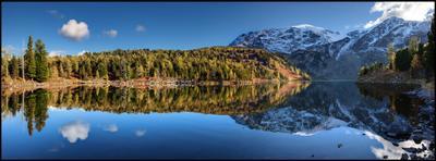 Тишина Алтай Красное озеро Горы Вечер Озеро Отражение