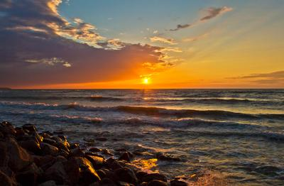 Закат на Балтике Пейзаж море небо солнце волны облака