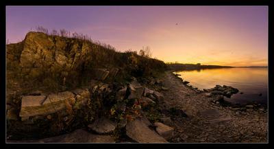 Червонное золото заката Иртяш, Озерск, камни, после заката