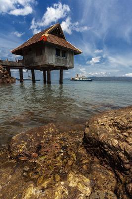 Дом на воде филиппины пейзаж океан небо