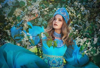 Девушка с яблоням Девушка цветение яблоня русский стиль весна