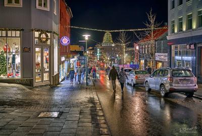 Рейкьявик, улица Laugavegur, первое января