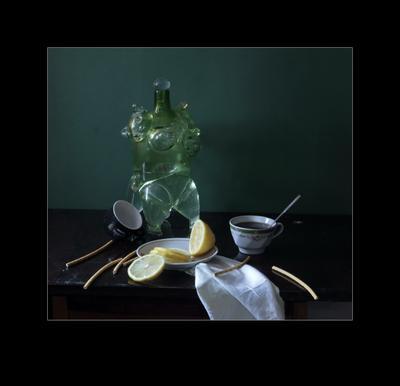 * Натюрморт ваза лимон композиция цвет форма