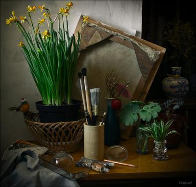 Натюрморт с домашними цветами