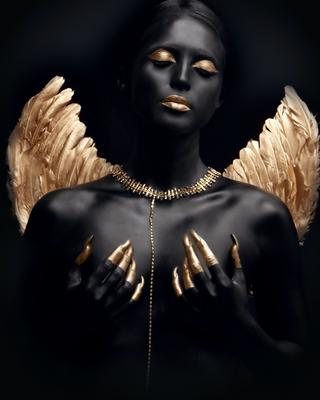 """""""Черный ангел"""" черный золото девушка ню крылья украшение"""