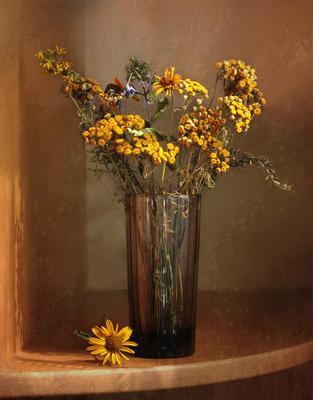 Засохший букет полевых цветов