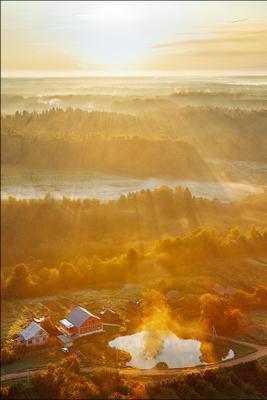 Милый сердцу уголок Сергиев Посад, Солнце, Осень, Туман, Лучи