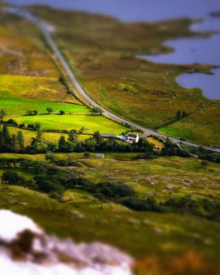 ...at the bend... ireland connemara galway clifden road bend from above aerial nature outdoors tilt shift miniature rural countryside scenic toy scape europe