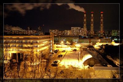Smolnaya Nights Город, трубы, Москва, зима, ночь