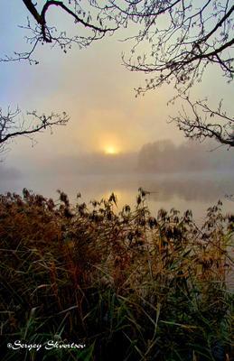 Осеннее утро Осень туман озеро восход солнца