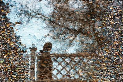 Отражение человека на мосту Отражения ручей человек мост дождь круги на воде деревья галька пасмурная погода серое небо